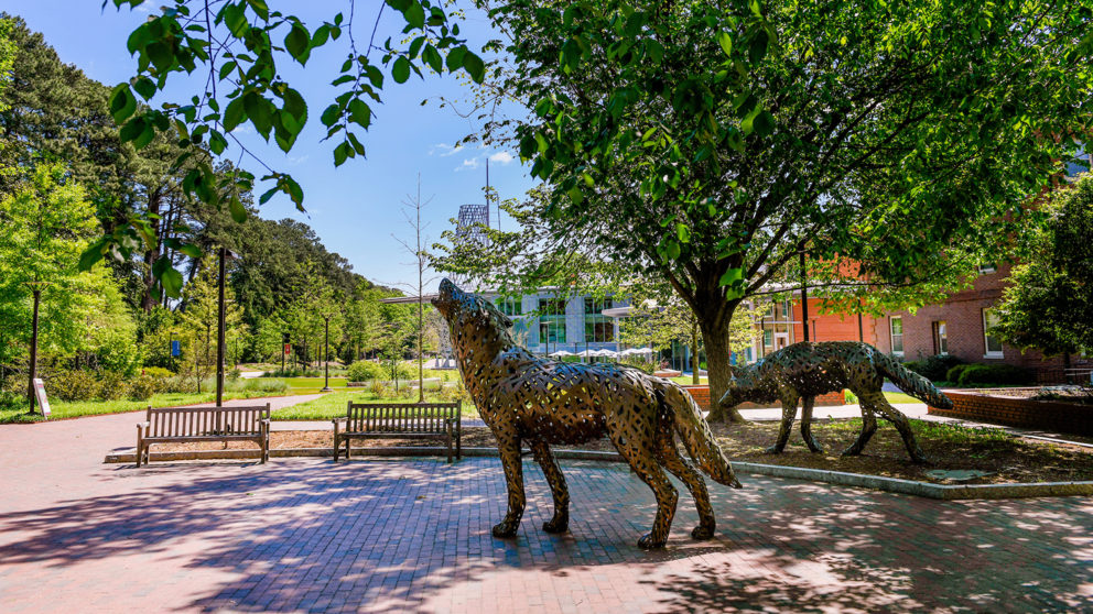 Copper wolves stand by the walkway to Stafford Commons and Talley Student Center. Photo by Becky Kirkland.