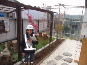 Handa in protective gear at a civil engineering site in Japan.