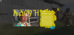 The VR experience highlights the women who own each farm. Almaz is highlighted with a head shot and graphic describing her business.