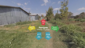 A grassy path next to a row of buildings is overlaid with colorful navigation options in the VR experience.