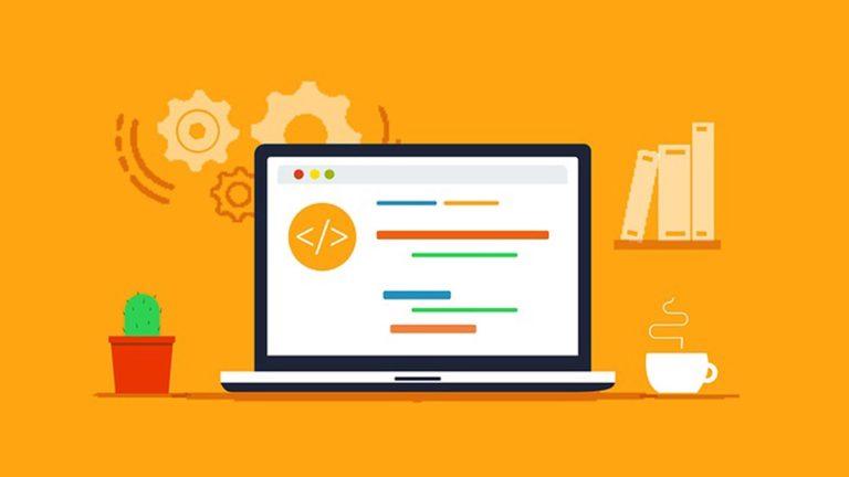 Orange laptop graphic