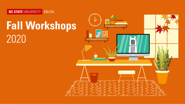 Graphic for DELTA Fall Workshops. Drawing of a home office with computer with belltower on the screen.