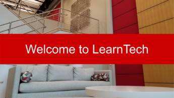 Welcome to LearnTech graphic with the CTI lobby in the background.