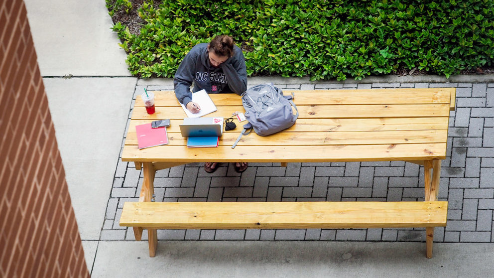 student at picnic table