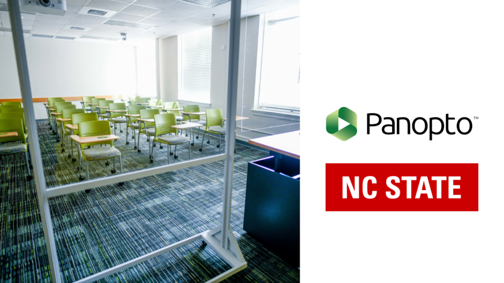Empty classroom next to panopto and nc state logos.