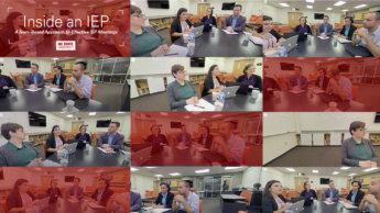 Several screen grabs of the virtual meeting with read transparent overlay. Actors sit around a conference table to simulate the meeting. Text: Inside an IEP: A Team-Based Approach to Effective IEP Meetings.