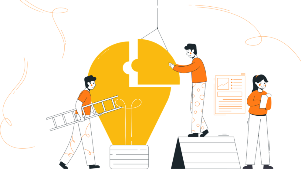 Cartoon: People work together to assemble a giant lightbulb