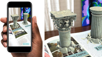 Screenshot of a phone with the Graphic Design Theory AR App on screen. A design pillar appears in augmented reality.