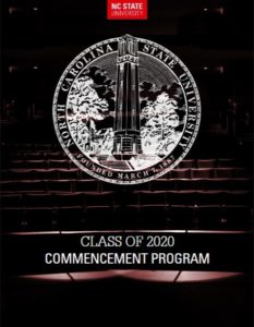 Cover page of Class of 2020 Commencement Program