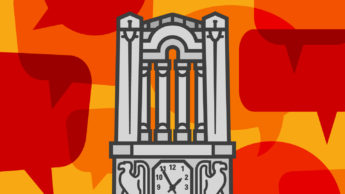 NC State Belltower illustrated against orange speech bubbles.