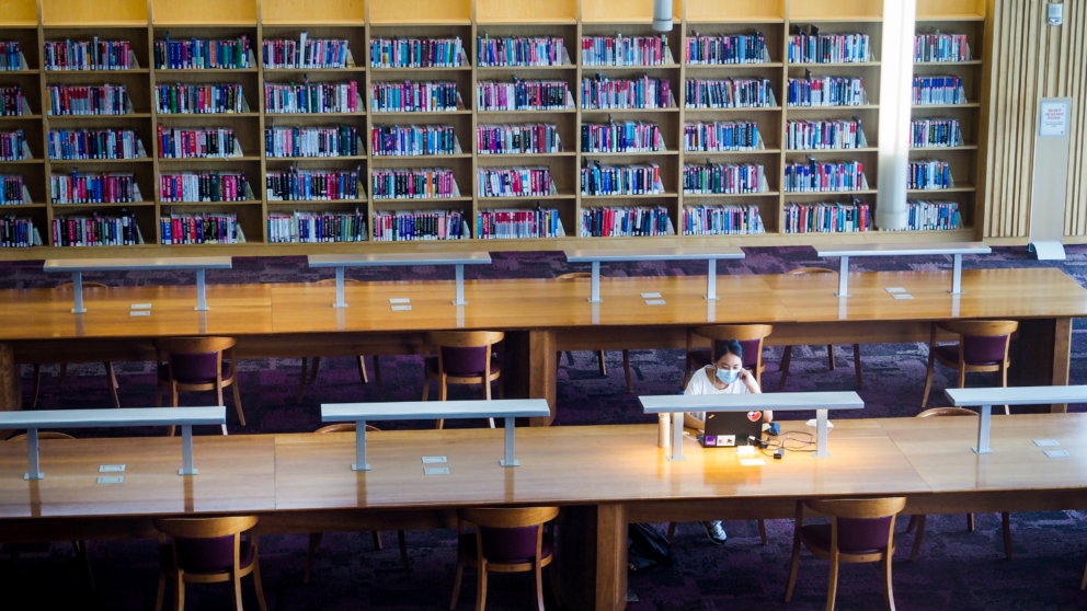 Students working at the Hunt Library on Centennial Campus find ample space to social distance, with undergraduate classes moved online for the remainder of the fall 2020 semester. Photo by Becky Kirkland.