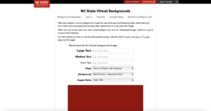 The virtual background generator allows faculty and students to create their virtual backgrounds with a variety of customizable options.