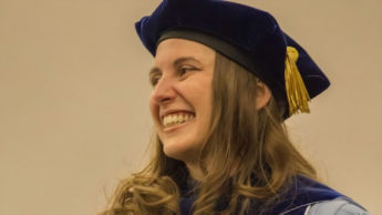 Elaine Bohórquez at the NC State Physiology Program graduations.
