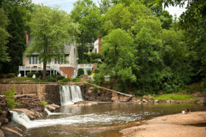 June 19, 2011. Raleigh, N.C.. Lassiter Mill Historic Park, site of the Crabtree Creek dam and Lassiter Falls.