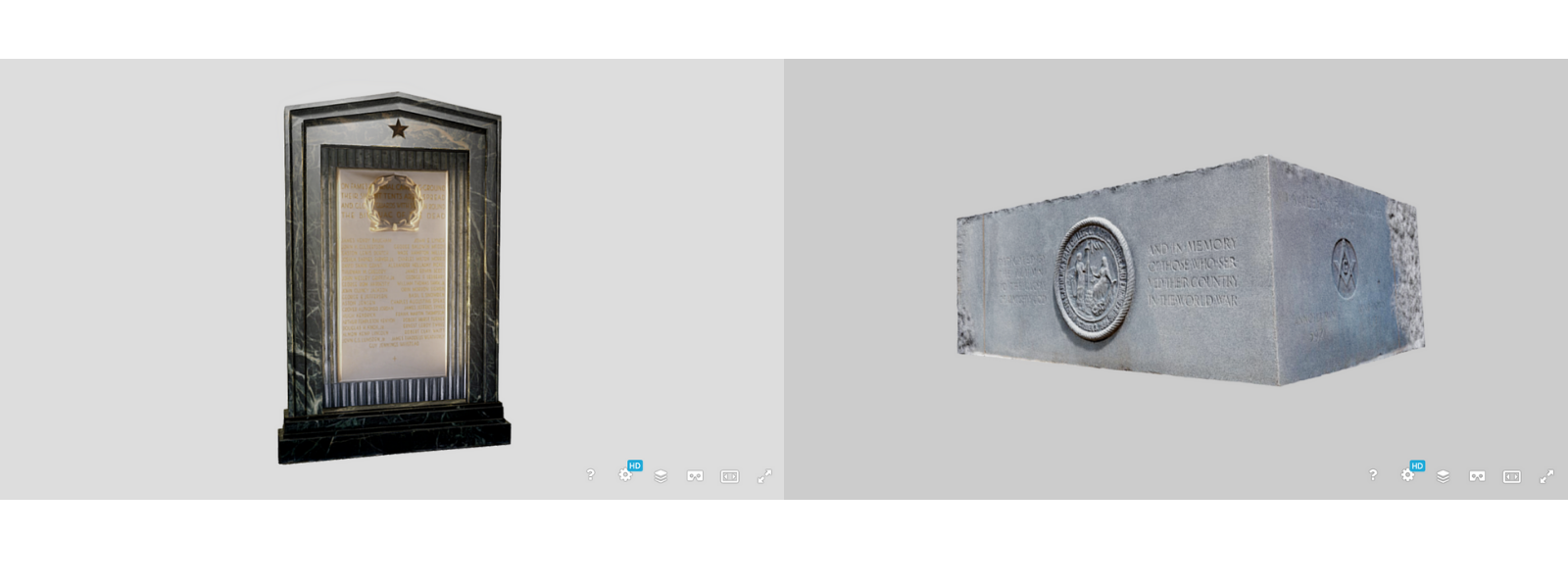 3D models of the Belltower's plaque and cornerstone in Sketchfab