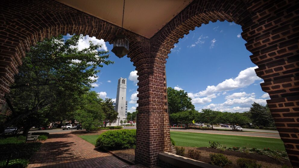 A view of the NC State Belltower from Holladay Hall.