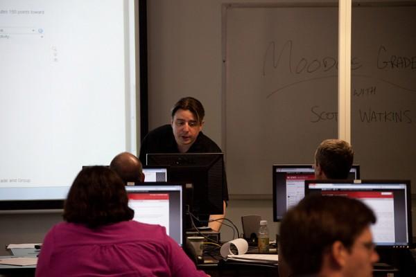 Scott Watkins leads a workshop on how to use Moodle Gradebook