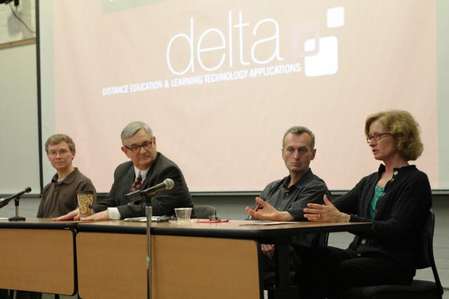 Faculty Panel members Tim Petty, Jim Croom, Michael Kanters and Louise Dolan discuss teaching with technology